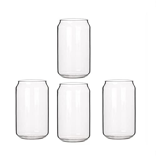 Sunsdew Paquete de 4 Latas en Forma de Vidrio Moda Agua Leche Jugo Taza de Jugo Simple Vaso de Cerveza Vaso Batido Taza de Postre Taza de Cola, 400ML