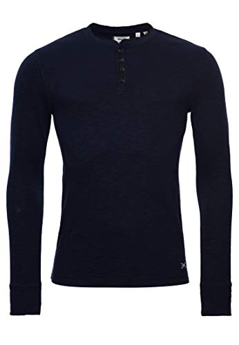 Superdry Legacy LS Henley Camicia, Downhill Navy, M Uomo