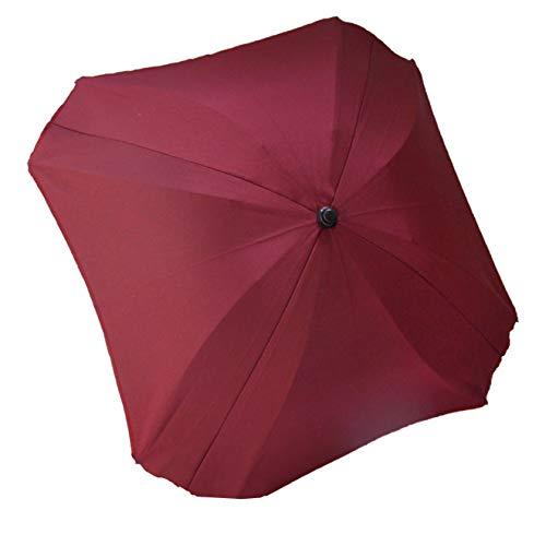 BAMBINIWELT Sonnenschirm für Kinderwagen ECKIG Ø74cm UV-Schutz50+ Schirm Sonnensegel Sonnenschutz (Bordorot) XX