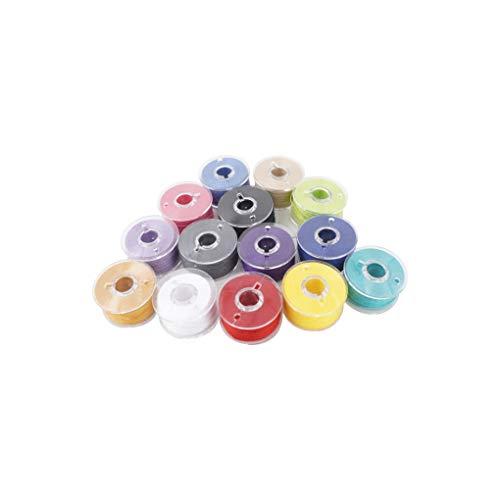 rongweiwang Máquina de Coser de algodón bolillos Hilos Multicolores prebobinada bobinas enrolladas previamente Bobinas Set Set con Caja de Almacenamiento