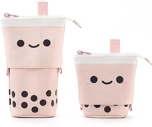 Cute Pencil Case Kawaii Standing Pen Holder Bubble Tea Boba Milktea Pop Up Back to School Supplies Stationery Organizer Bag with Smile Face Cosmetics Pouch Makeup Bag for Kids Students Teens (Pink)