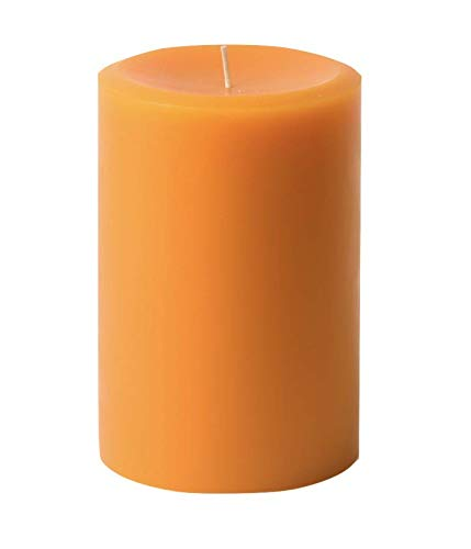 3' x 4' Hand Poured Solid Color Unscented Pillar Candles Set of 3 (Orange)