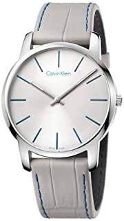 ساعة بسوار جلدي ومينا فضي وحركة كوارتز سويسرية وعرض انالوج للرجال من كالفن كلاين، K2G211Q4