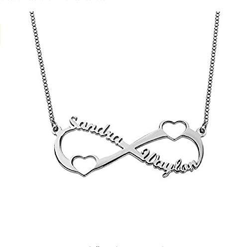 Collana personalizzata 2 nome con doppio regalo personalizzato Infinity Heart per lei