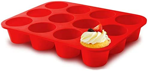 Silicone Jumbo Muffin Pan 12 Cups European Grade Cupcake Baking Pan Large Size Non Stick Muffin product image