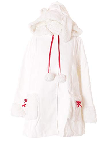 TJ-03-2 Weiß Mantel Hasen-Ohren Kapuzen-Jacke Plüsch-Fell Pastel Goth Lolita Harajuku Japan Kawaii
