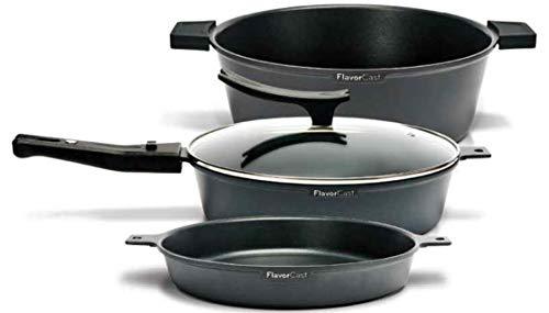 FlavorCast| Batería de Cocina Gourmet Set | Fundidos a presión | Incluye: 2 Sartenes, 1 Cacerola, 1 Tapa de Vidrio Templado | Tamaño 24 cm | Color Negro
