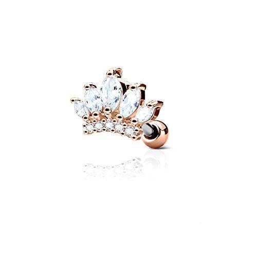 BlackAmazement, orecchini a forma di corona per trago, in acciaio inox 316L, con zirconi cubici, oro rosa, argento, trasparente e Acciaio inossidabile, colore: Oro rosa, cod. -