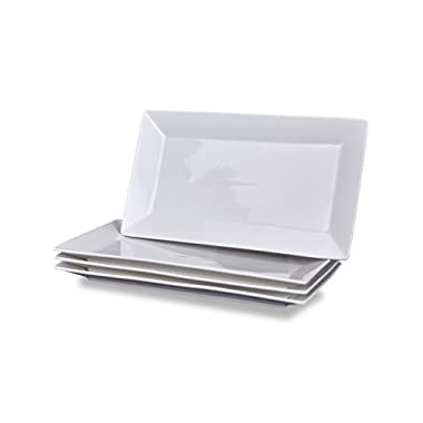 Klikel 4 Serving Platters - Classic White Plate - Serving Trays For Parties - Microwave And Dishwasher Safe - 5.5 X 10 Inch