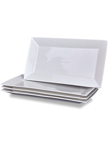 Klikel 4 Serving Platters | Classic White Plate | Serving Trays For Parties | Microwave And Dishwasher Safe - 5.5 X 10