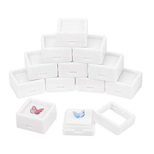 BENECREAT 36 Cajas de exhibición de Piedras Preciosas Blancas cuadradas de acrílico (3x3x1,65cm) con Tapas Superiores Transparentes y Esponja en el Interior para, Monedas, Embalaje de Joyas