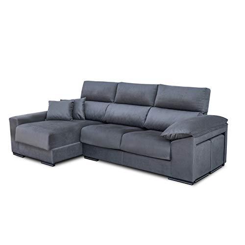 Shiito - Sofá 3 plazas con arcón, Cabezales reclinables, Dos pouff y chaiselongue Izquierda. Modelo Ariel