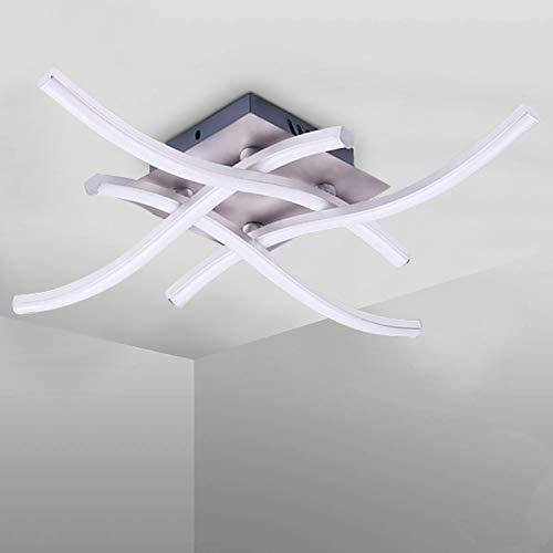 LemonBest Lámpara de Techo LED,Lamparas De Techo 6000K 28W 1400Lumens luz blanca neutra 4 Paneles de diseño curvo Lamparas de Techo Dormitorio para salas de salón, dormitorio, pasillo y cocina