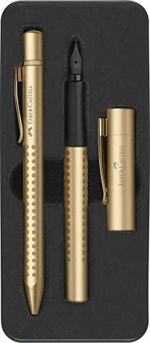 Faber-Castell Grip Edition 201522 - Set penna stilografica M e penna a sfera, colore: Oro