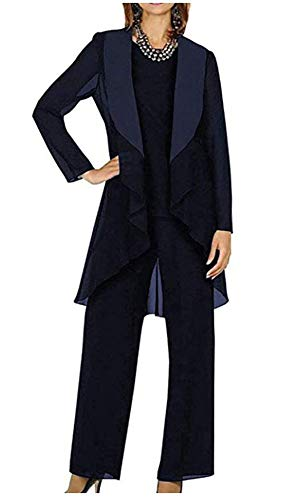 3 PC Chiffon Mother's Outfit Pants Suits for Wedding Plus Size Women's Evening Gowns Dress Suit Dark Navy US16