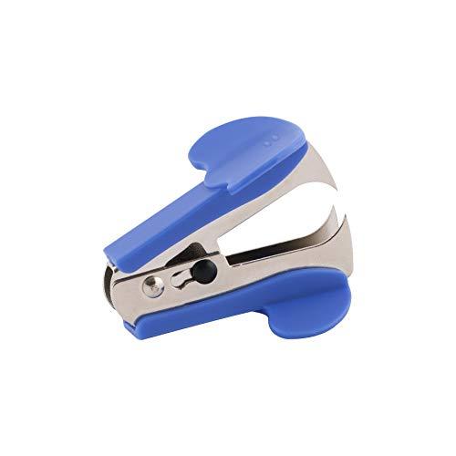 D.RECT Lijadora de grapas de metal con soporte de sujeción | Quitagrapas para uso diario en la oficina y en casa | Forma ergonómica azul
