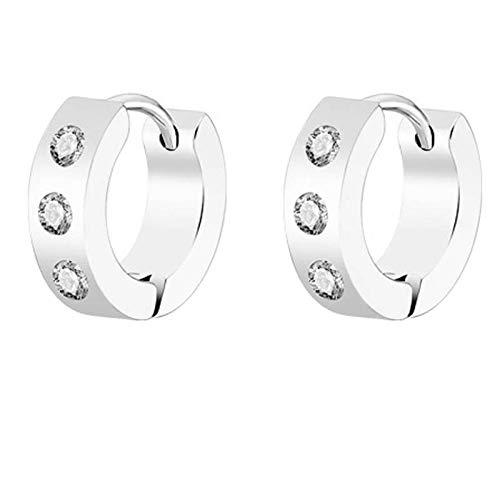 Earrings Women Studs Stud Earrings Men Gold Black Silver Color Earring Guys Punk Ears Jewelry-Silver