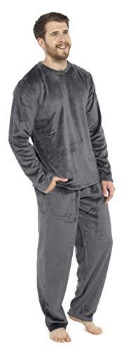 CityComfort Pijamas para Hombre, Pijama Forro Polar Loungewear, Pijama De Forro Polar Pijama De Dos Piezas De Manga Larga, Regalos Originales para Hombre (M, Gris Oscuro)