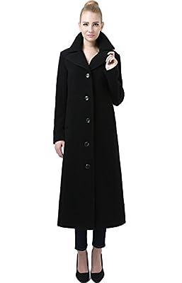 BGSD Women's Jeanette Long Wool Blend Maxi Walking Coat, Black, Medium by