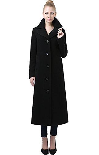 BGSD Women's Jeanette Long Wool Blend Maxi Walking Coat, Black, Medium