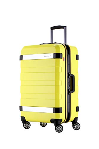 Ambassador Luggage Aluminum alloy Frame carry on Hard Shell Luggage with spinner Double wheels traveling suitcase (yellow)