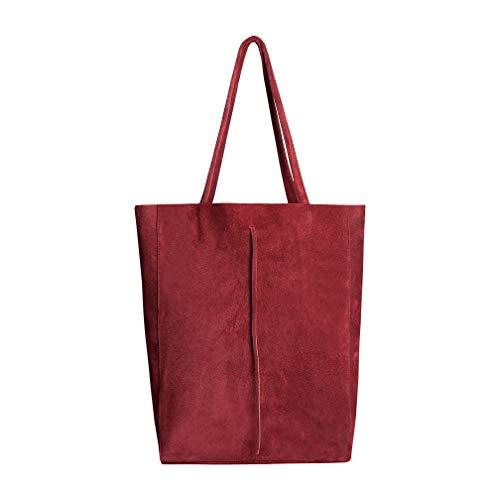 SKUTARI® Vittoria Ruvido - Damen Shopper aus Wildleder, Leder-Handtasche mit eingenähter Innentasche, handgefertigt in Italien, Tragetasche, Beuteltasche mit langen Griffen