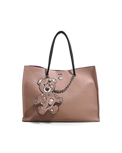 LE PANDORINE Shopper Bubi Bag BOTTA con chiusura a bottone. Applicato al manico ha un simpatico tag staccabile a forma di orsacchiotto. Testo: Una pianificazione per quanto attenta non potrà mai sosti