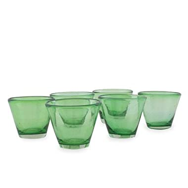 NOVICA 204868 'Jade Flair' Juice Glasses (Set of 6), 2.8  Tall, Green