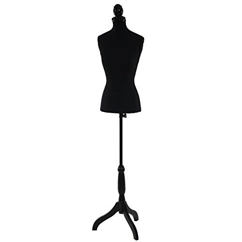 Manichino sartoriale busto donna T220 fibre di poliestere con treppiede ~ nero