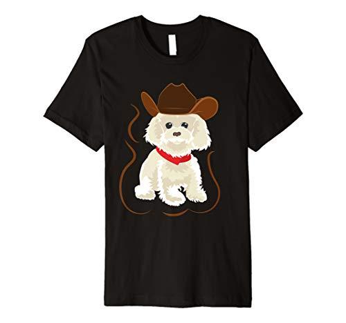 Pudel mit Cowboy Hut und rotem Halsband T-Shirt