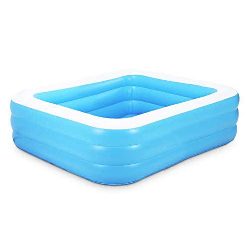 WOSNN Piscina hinchable rectangular azul grueso PVC -110 x 88 x 33 cm