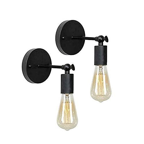 LáMpara Pared,Lámpara de pared con brazo oscilante, aplique de pared industrial, acabado negro, base E27/E26 con certificación UL, accesorios de iluminación de pared para dormitorio de 2 luces,