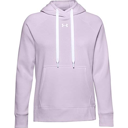 Under Armour Women's Rival Fleece Pull-Over Hoodie , Crystal Lilac (570)/White , Large