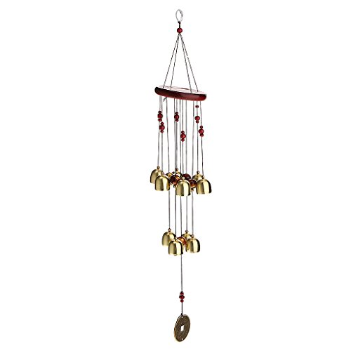 Générique Carillon de Vent Bronze 10-Grandes Cloches en Métal Bois Suspendu Décoration de Jardin
