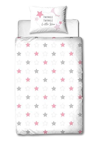 MTOnlinehandel TRAUMHELDEN Sterne Babybettwäsche 135x100 Flanell/Biber ☆ 1 Kissenbezug 40x60 + 1 Bettbezug 100x135 cm ☆ Little Star rosa ☆ Hochwertige Mädchen-Bettwäsche mit Reißverschluss
