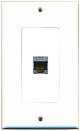 RiteAV CAT 6A 1 Port Shielded Cat6a Wall Plate 1 Gang Decorative - White