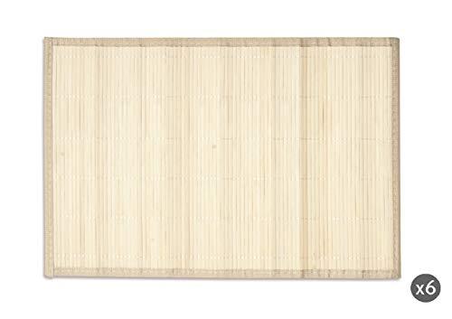 Excelsa Oriented Lot de 6 Sets de Table, Bambou, crème, 45 x 30 cm