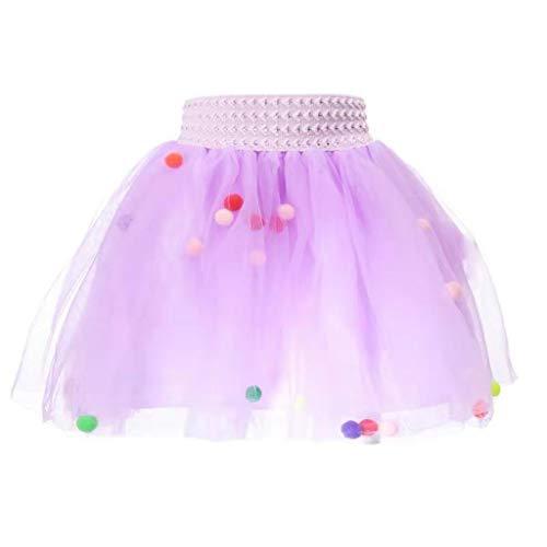 MRULIC Baby und Mädchen Tüllrock Tutu Set Mit Kinder Rock Ballettrock TüTü Unterkleid Petticoat Rockabilly Kurz Kleid Flusen Ball Prop Fotografie Kostüm(Violett,Höhe:60-80cm)