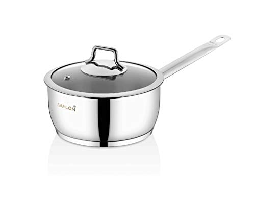 Saflon Stainless Steel Tri-Ply Capsulated Bottom 3 Quart Sauce Pan with Glass Lid, Induction Ready, Oven and Dishwasher Safe
