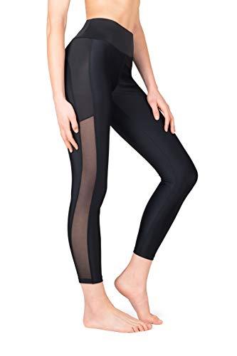 SES Damen Sporthose mit hohem Bund Sportleggings für Fitness Yoga Freizeit (Schwarz, XS)