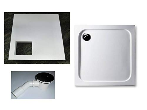 KOMPLETT-PAKET: Duschwanne 90 x 90 cm superflach 2,5 cm weiß Dusche mit GERADER UNTERSEITE Acryl + Styroporträger/Wannenträger + Ablaufgarnitur chrom DN 90