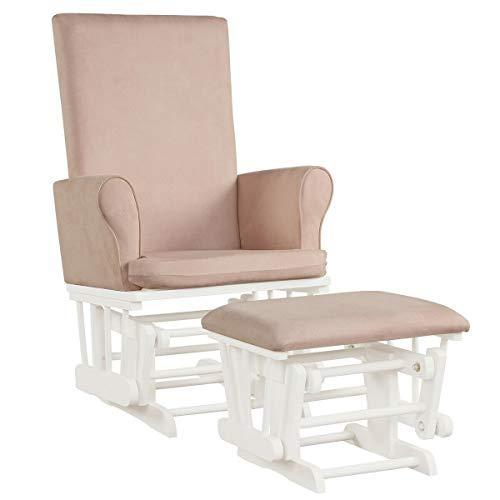 Baby Nursery Relax Rocker Rocking Chair Glider & Ottoman Set (Pink)