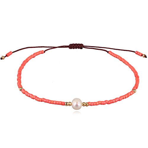 KELITCH Neu Miyuki Wulstig Armbänder Boho Strang Armbänder Armreifen Frau Mischen Perle Armbänder Zum Sommer - Koralle