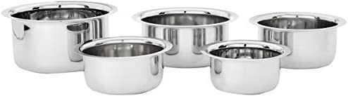 Amazon Brand - Solimo Stainless Steel Tope Set size 10cm, 11cm,12 cm,14cm,15cm (5 pieces, 420 ml , 550 ml, 840 ml, 1150...
