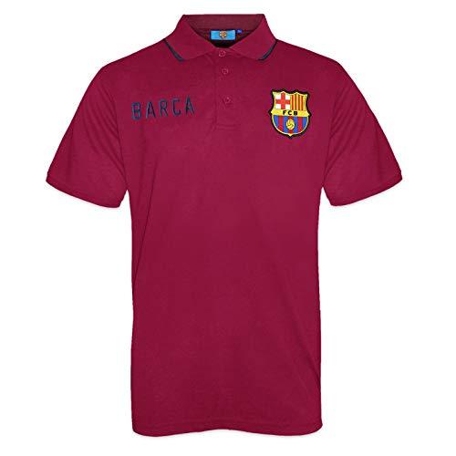 FC Barcelone Officiel - Polo de Football pour Homme - avec Blason Officiel - Bleu Marine - Rouge - Medium