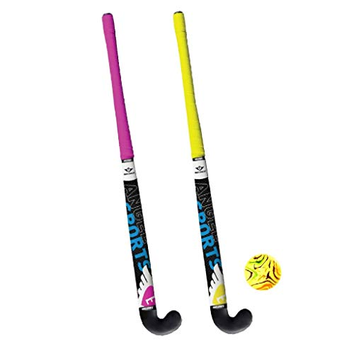 AK Sport Hockey Ball Hockey Set 2 Stöcke + Ball, gelb, 84 cm