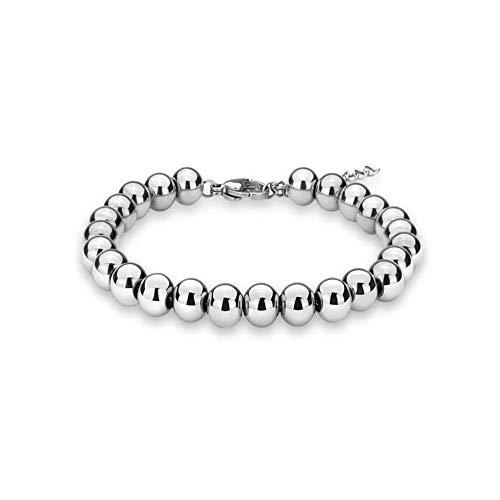 Verona Jewelers Sterling Silver 4MM-10M Italian Bead Ball Chain Bracelet- Handmade Bead Italian Bracelet,925 Sterling Silver Bracelet (7, 5MM)