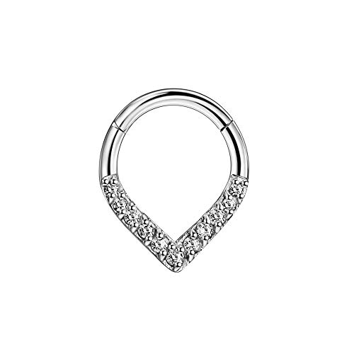 316L Surgical Steel Teardrop Septum Jewelry Hinged 16 Gauge Septum Hoop 8mm Septum Nose Rings Cubic Zirconia Septum Clicker Cartilage Helix Hoop for Women Men