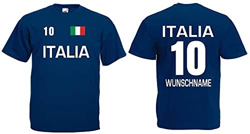 Italia-Italien Herren T-Shirt Trikot mit Wunschname & Nummer Navy M