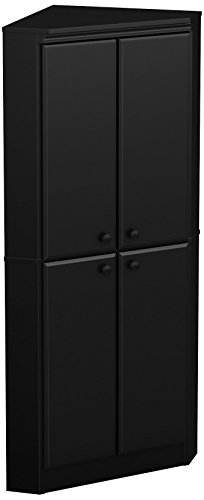 Find Bargain South Shore 4-Door Corner Armoire for Small Space with Adjustable Shelves Chocolate